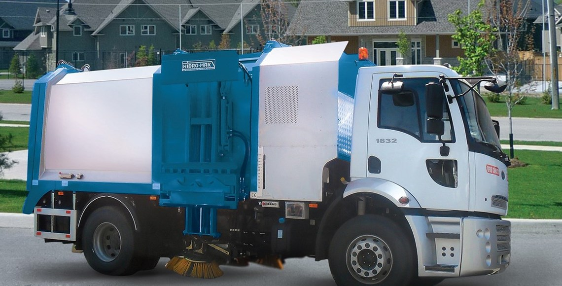 Refuse Compactor with Road Sweeper